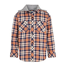 Buy John Lewis Boy Check Hooded Shirt, Multi Online at johnlewis.com