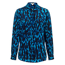 Buy Whistles Tyler Animal Print Shirt, Blue/Multi Online at johnlewis.com