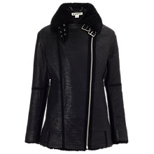 Buy Whistles Daria Bubbleskin Leather Jacket, Black Online at johnlewis.com