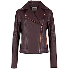 Buy Ted Baker Popper Detail Biker Jacket, Grape Online at johnlewis.com