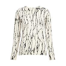 Buy Whistles Marble Print Crew Neck Jumper, Black & White Online at johnlewis.com