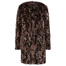 Buy French Connection Tabby Faux Fur Collarless Coat, Multi Online at johnlewis.com