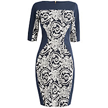 Buy Closet Tapestry Crop Sleeve Bodycon Dress, Navy/White Online at johnlewis.com