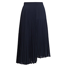 Buy Whistles Daphne Asymmetric Pleat Skirt, Navy Online at johnlewis.com