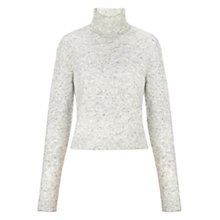 Buy Whistles Textured Marl Crop Roll Neck Jumper, Grey Online at johnlewis.com