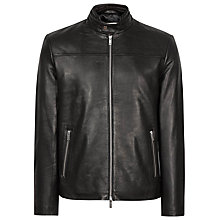 Buy Reiss Gershwin Leather Jacket, Black Online at johnlewis.com