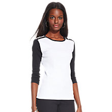 Buy Lauren Ralph Lauren Crewneck Top, White/Black Online at johnlewis.com