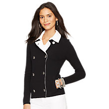 Buy Lauren Ralph Lauren Double Breasted Cotton Cardigan, Black/White Online at johnlewis.com