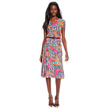 Buy Lauren Ralph Lauren Ednes Short Sleeve V-Neck Dress, Pink Multi Online at johnlewis.com
