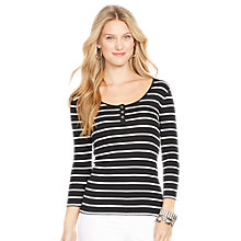 Buy Lauren Ralph Lauren Jersey Stripe Top, Black/White Online at johnlewis.com