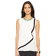 Buy Lauren Ralph Lauren Guadalupe Ruffle Front Silk Top, Pearl/Black Online at johnlewis.com