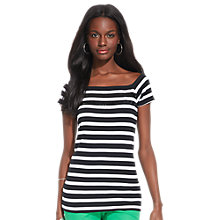 Buy Lauren Ralph Lauren India Squared Neck Top, Black/White Online at johnlewis.com