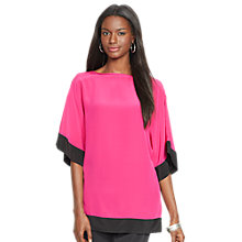 Buy Lauren Ralph LaurenSilk Color-Blocked Top, Cruise Pink/Black Online at johnlewis.com