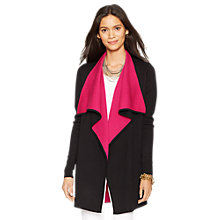 Buy Lauren Ralph Lauren Drape Front Cardigan, Black/Cruise Pink Online at johnlewis.com