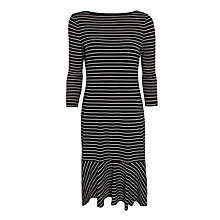 Buy Lauren Ralph Lauren Shendelle 3/4 Sleeve Boat Neck Dress, Black / White Online at johnlewis.com