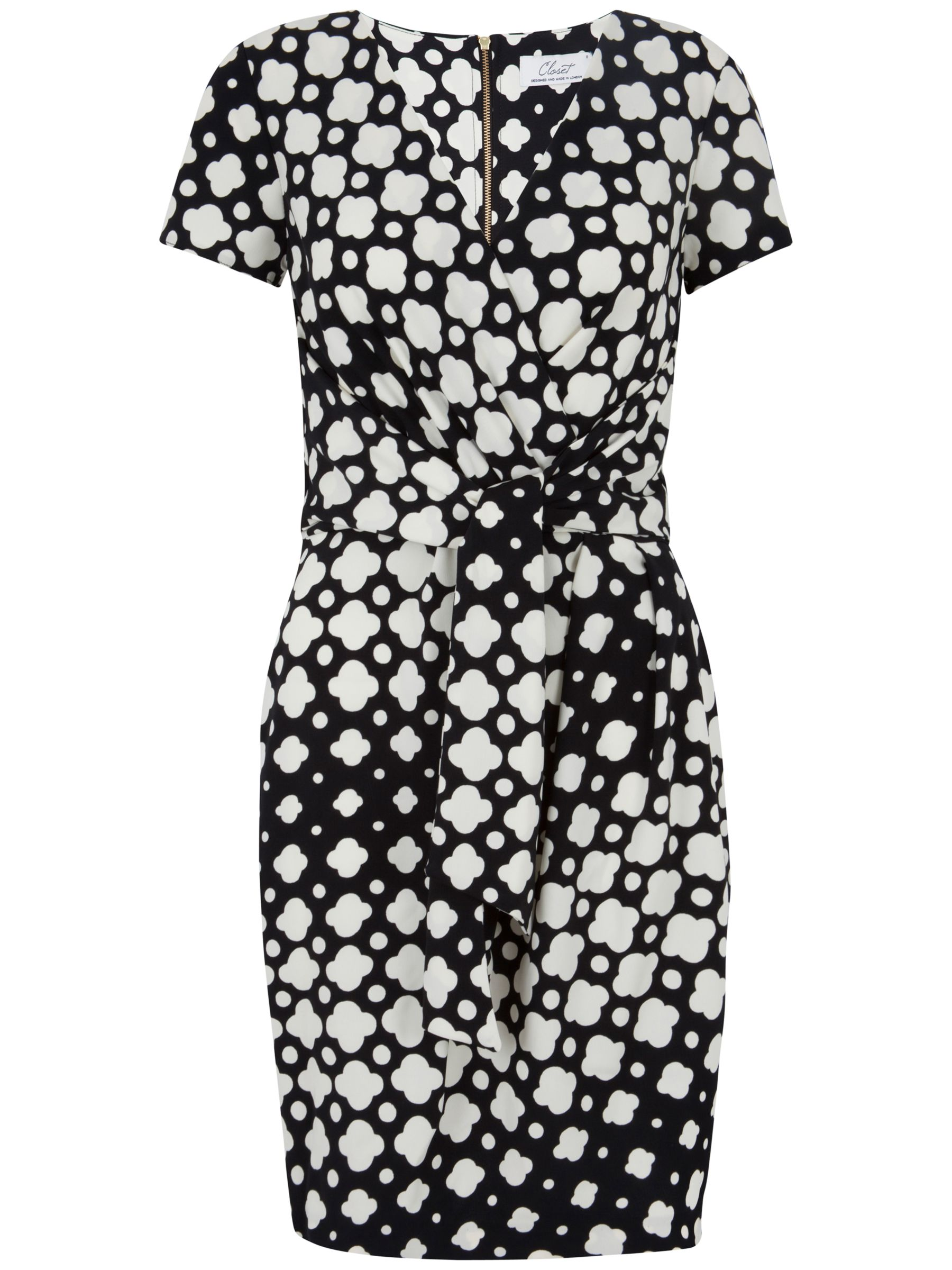 closet cloud print wrap tie front dress black and white, closet, cloud, print, wrap, tie, front, dress, black, white, 16 12 14 10 8, clearance, womenswear offers, womens dresses offers, women, inactive womenswear, new reductions, womens dresses, special offers, 1693505