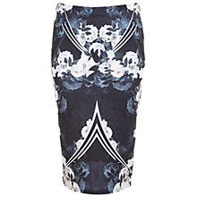Buy Miss Selfridge Dark Floral Mirror Pencil Skirt, Multi Online at johnlewis.com