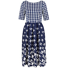 Buy Closet Print V-Back Full Scuba Dress, Navy Online at johnlewis.com