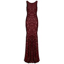 Buy Gina Bacconi Full Length Beaded Dress, Burgundy Online at johnlewis.com