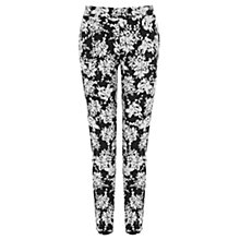 Buy Warehouse Mono Floral Print Trousers, Black Pattern Online at johnlewis.com