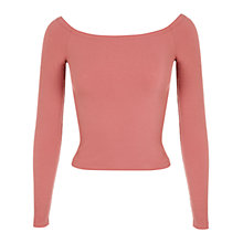 Buy Miss Selfridge Rib Bardot Top, Rose Pink Online at johnlewis.com