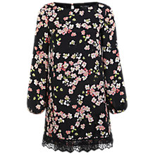 Buy Miss Selfridge Blossom Tunic Dress, Black Online at johnlewis.com