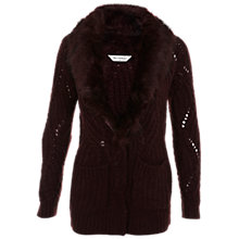 Buy Miss Selfridge Faux Fur Cardigan, Burgundy Online at johnlewis.com