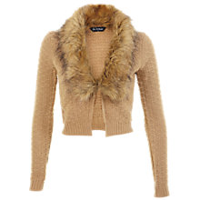 Buy Miss Selfridge Faux Fur Collar Cardigan, Camel Online at johnlewis.com