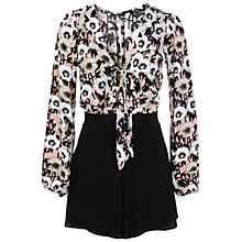 Buy Miss Selfridge Pussybow Printed Playsuit Online at johnlewis.com