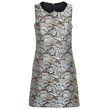 Buy Miss Selfridge Petite Jacquard Collar Dress, Turquoise Online at johnlewis.com