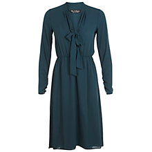 Buy Miss Selfridge Midi Pussybow Dress, Dark Green Online at johnlewis.com