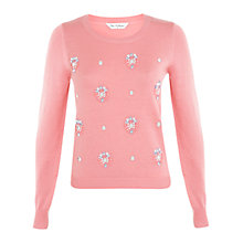 Buy Miss Selfridge Embellished Jumper, Pale Pink Online at johnlewis.com