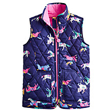 Buy Little Joule Girls' Georgia Horse Print Quilted Gilet, Navy/Multi Online at johnlewis.com
