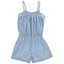 Buy Question Everything Girls' Hand Smocked Cat Print Playsuit, Blue Online at johnlewis.com
