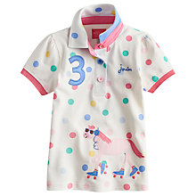Buy Little Joule Girls' Horse Spot Polo Shirt, Cream Online at johnlewis.com