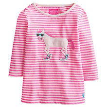 Buy Little Joule Girls' Ava Horse Motif Stripe T-Shirt, Pink Online at johnlewis.com