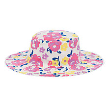 Buy John Lewis Girl Bold Floral Reversible Sun Hat, White/Pink Online at johnlewis.com
