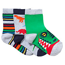 Buy John Lewis Children's Dinosaur Socks, Pack of 3, Green Online at johnlewis.com