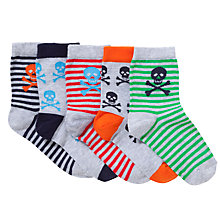Buy John Lewis Boy Skull Print Socks, Pack of 5, Multi Online at johnlewis.com