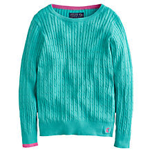 Buy Little Joule Girls' Hayle Cable Knit Jumper, Green Online at johnlewis.com