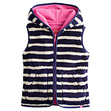 Buy Little Joule Girls' Larkfield Stripe Fluffy Gilet, Blue Online at johnlewis.com