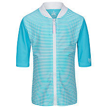 Buy Platypus Girls' Short Sleeve Striped Rash Vest, Aqua Online at johnlewis.com