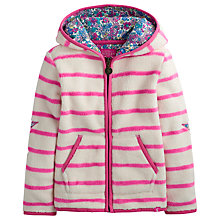 Buy Little Joule Girls' Bella Stripe Zip-Through Fleece, Cream/Pink Online at johnlewis.com