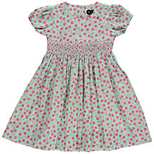 Buy Question Everything Girls' Millie Cherry Hand Smocked Dress, Green Online at johnlewis.com