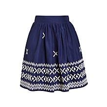 Buy John Lewis Girl Embroidered Border Skirt, Navy Online at johnlewis.com