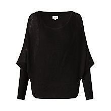 Buy Jigsaw Waffle Stitch Batwing Jumper, Black Online at johnlewis.com