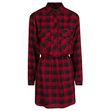 Buy Mango Check Shirt Dress, Bright Red Online at johnlewis.com