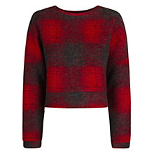 Buy Mango Check Wool Blend Sweater, Bright Red Online at johnlewis.com
