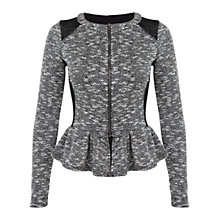 Buy Miss Selfridge Peplum Jacket, Mid Grey Online at johnlewis.com