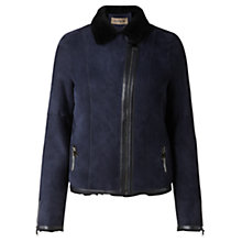 Buy Jigsaw Sheepskin Biker Jacket, Navy Online at johnlewis.com